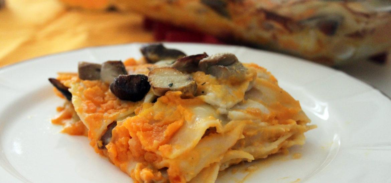 lasagne vegan zucca e funghi
