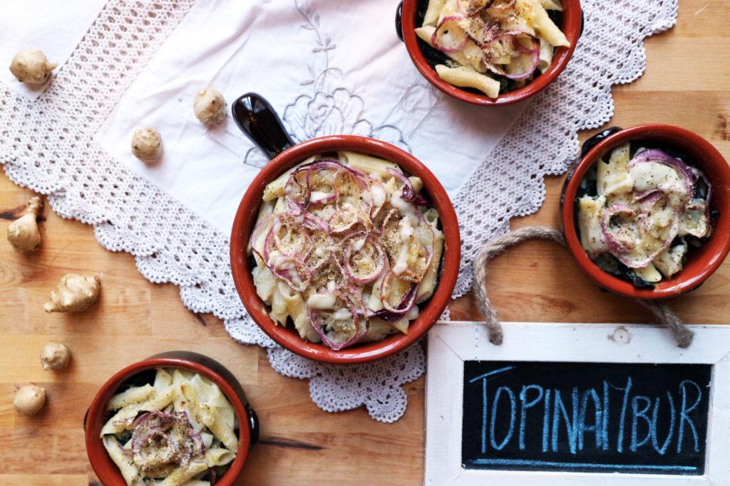 pasta vegan al topinambur