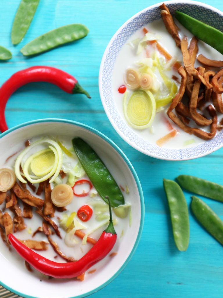 zuppa vegan con latte di cocco