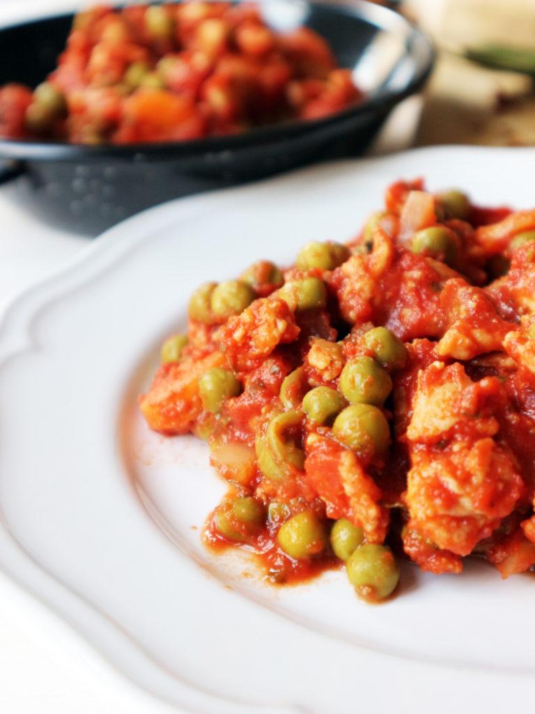 spezzatino di soia piselli e carote vegan