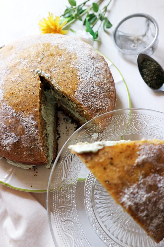 torta vegan al tè matcha