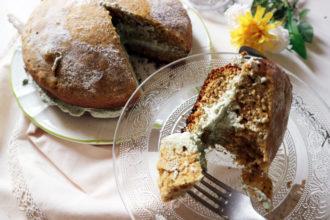 torta vegan al tè matcha e vaniglia