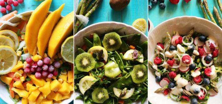 insalate con la frutta e verdura