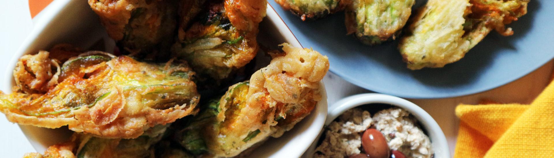 fiori di zucca ripieni e fritti vegan