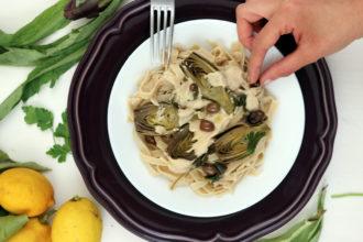 pasta vegana con le castraure di Sant'Erasmo