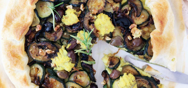 torta salata vegan zucchine e cavolfiore
